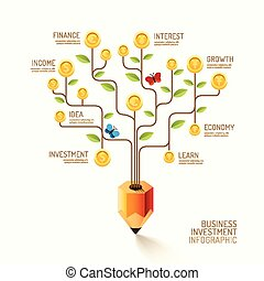 Infographic business pencil tree and coins flat line idea....