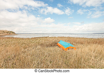 Bright painted boat - Bightly painted boat on a grass field...