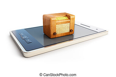 radio on mobile phones on white background