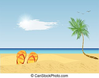 Beach Scene Illustration - Illustration of a colorful beach...