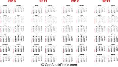 calendar for 2010 through 2013