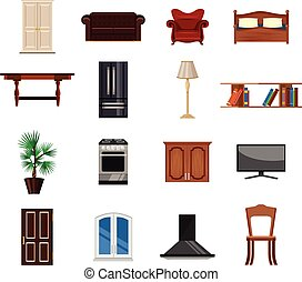 Vector furniture flat icon set