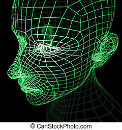 Green Wireframe Human Head Mode - A computer generated...