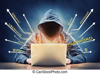 hacker - picture of a hacker on a computer
