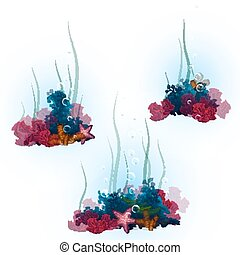Vector illustration of decorative corals and seaweed
