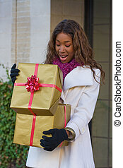 Happy Woman Christmas Shopping - Attractive young happy...