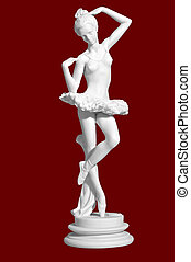 antique figurine of the dancing ballerina. Isolated image.