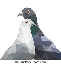 Illustration of two origami pigeons