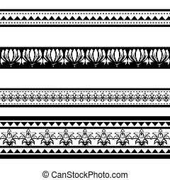 Illustration of black polynesian armband tattoo isoalted on...