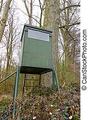 Hunting lodge.  Hunting pulpit