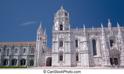 The Jeronimos Monastery or Hieronymites Monastery is located in Lisbon, Portugal timelapse hyperlapse