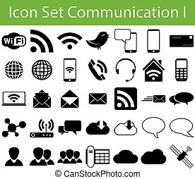 Icon Set Communication I with 35 icons for different...