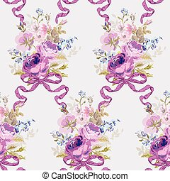 Spring Flowers Backgrounds - Seamless Floral Shabby Chic...