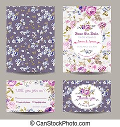 Invitation or Congratulation Card Set - for Wedding, Baby...