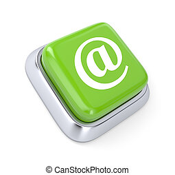E-mail button - Communication concept. Isolated on white