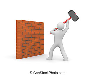 Man smashes wall - People in action metaphor. Isolated on...