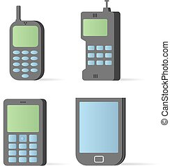 Vector old style mobile devices Icon set