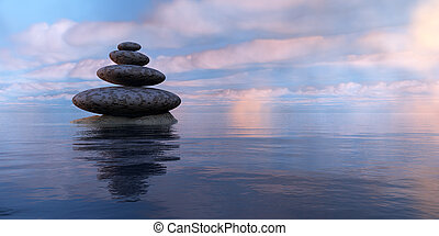 Zen stones - zen stones,sea and sky in 3d