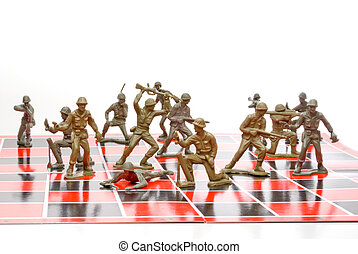 Army Chess - A set of plastic toy soldiers playing chess