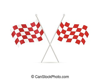 Checkered Flags - Illustration of red checkered flags...