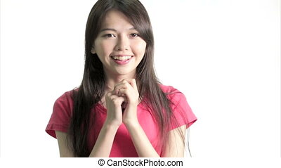 Chinese woman excited and happy, Medium Close Up in studio...