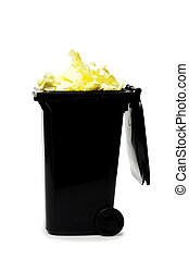 overflowing garbage bin isolated on white