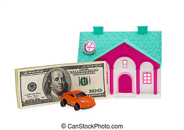 Car and House investment isolated on the white
