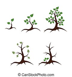 Life and death vector illustration - Life of the tree -...