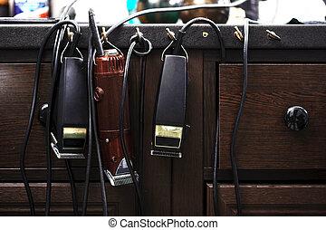 peluquero, accesorios, y, herramientas,