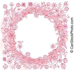 Pink wreath with stylized flowers