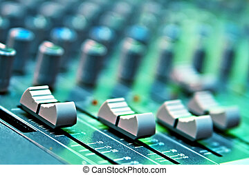 equipment - buttons equipment in audio recording studio of...