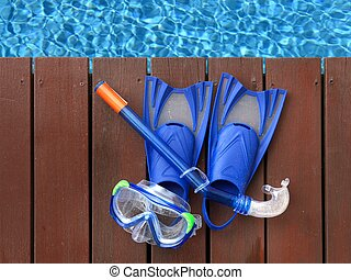 Pool Side - A close up shot of pool side items
