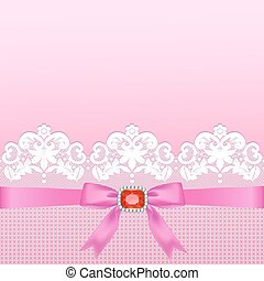 Lace border - White lace border with a bow on a pink...
