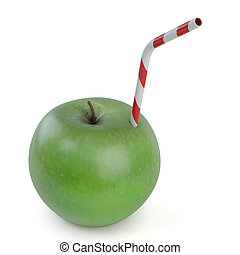 Apple juice - Green apple with straw on white background -...