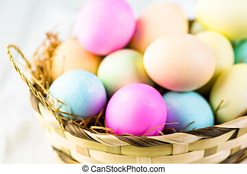 Easter eggs - Painted with pastel colors Easter eggs
