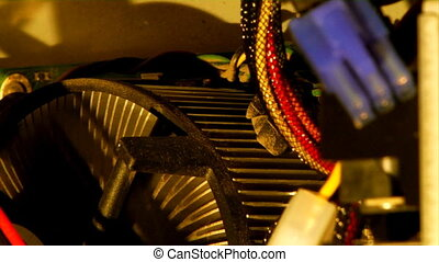inside the pc - close-up panoramic view of the computer...