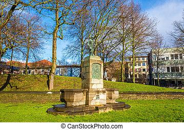 Statue in a garden in Gottingen - Germany, Lower Saxony