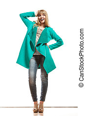 Full length fashion woman in green coat - Fashion Young...