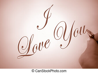 callligraphy I love you - person writing I Love You in...
