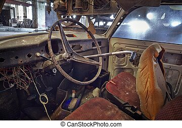 Car Wreck - Very old car wreck interior