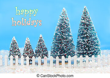 winter trees with fence - Christmas card saying happy...
