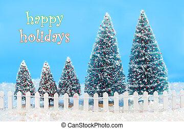 Vinter, träd, Staket