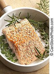 Salmon Fillet with Sesame Seeds and Herbs