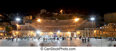 Roman Theatre in Amman (at night), Jordan -- theatre was...