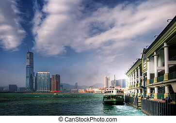 ferry leave the dock Victoria Harbor in Hong Kong - Ferry...