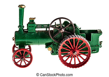 Steam tractor - a metal model of a steam tractor isolated...