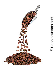 roasted coffee beans falling down from metal scoop isolated...