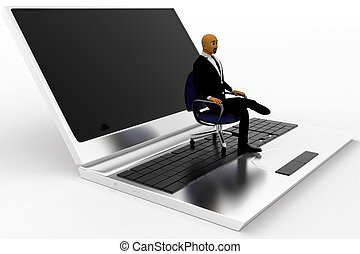 Business Man Sitting On A Rotating Chair Which Is On Laptop Render Concept