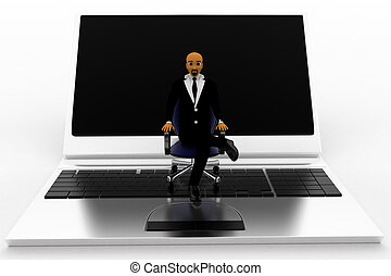 Business Man Sitting On A Chair Which Is On Laptop Concept
