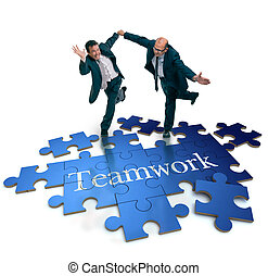 Teamwork concepts - Humorous shot of a pair of running...